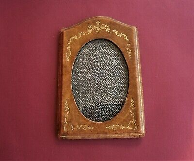 £9.58 • Buy Vintage Brown Leather Oval Photo Frame With Glass Hand Made Antique 1940s