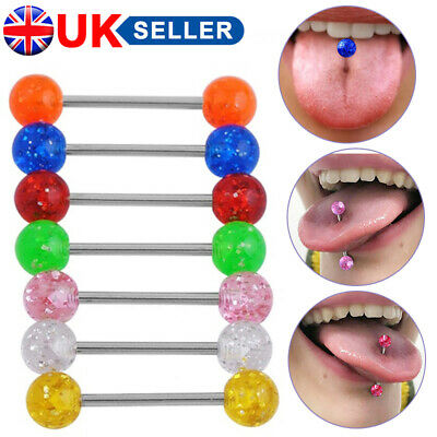 £3.58 • Buy 20Pcs Colorful Flexi Glitter Tongue Rings Body Piercing Jewelry Tounge Bars Cool