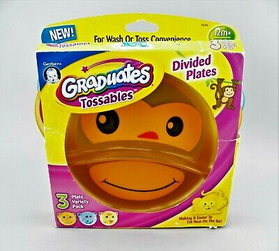 $ CDN8.40 • Buy Graduates Tossables 3 Pack Divided Plates Monkey ~ Hippo ~ Tiger By Gerber NOS