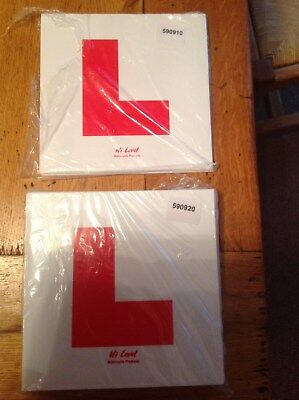Learner L Plates For Motorcycle Or Scooter Rigid & Sticky Motorbike L Plate Set • 4.20£