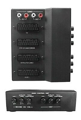 £14.99 • Buy SCART 3 Way Switch Box With Seperate Stereo Audio IN/OUT Phono/RCA Connections