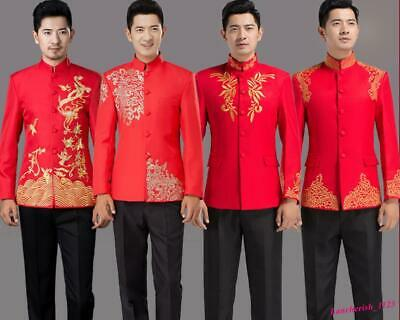 $51.42 • Buy Embroidery Mens Tang Suit Chinese Coat Wedding Jacket Slim Fit Stand Collar Chic