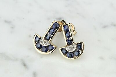 AU435 • Buy VINTAGE DECO STYLE SAPPHIRE AND DIAMOND EARRINGS ON 9ct YELLOW GOLD