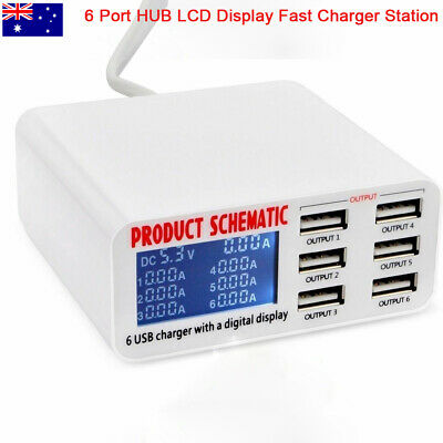 AU21.80 • Buy 6 Port 6A USB Rapid Fast Travel Wall Charger Station HUB  Detect LCD Display