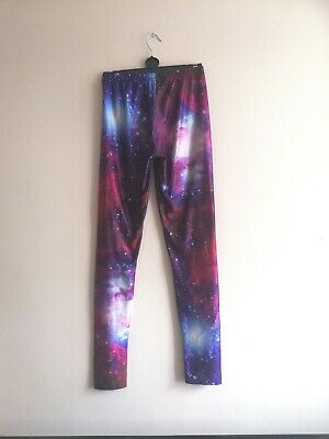 £6 • Buy Cosmic Galaxy Leggings, Red Blue Multicolour, Small S