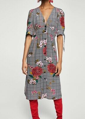 AU25 • Buy MANGO MNG Vintage Look Floral Checked Button Up Dress Size M