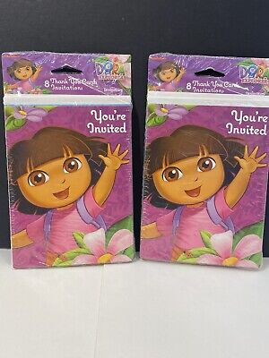 £7.26 • Buy Dora The Explorer Birthday Party Invitations & Thank You Cards (total 16 Each)