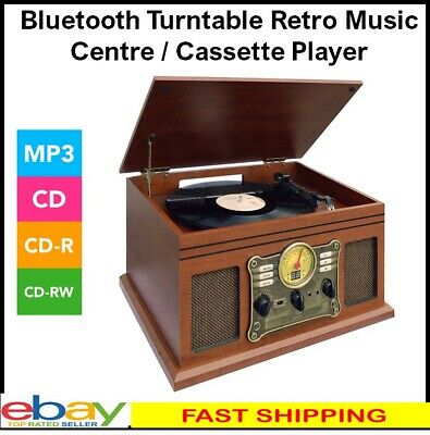 AU155 • Buy Turntable LP Vinyl Record Player Bluetooth Retro Stereo System CD Cassette AM FM