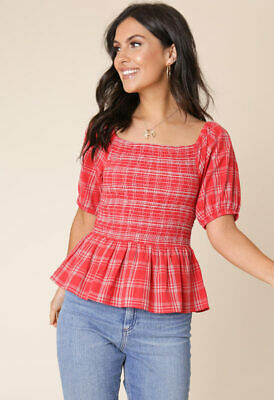 £11.99 • Buy Womens Red Cotton Check Square Neck Puff Sleeve Gathered Hem Shirred Top