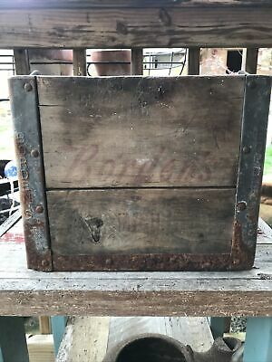 $63 • Buy Antique BORDEN'S Dairy Wood Box Milk Bottle Embossed Metal NY. / Mich. Crate