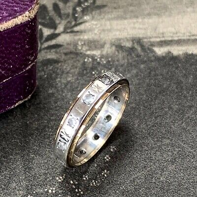£125 • Buy 9ct Gold And Silver Eternity Ring, Vintage White Spinels Not Diamonds  UK M 1/2