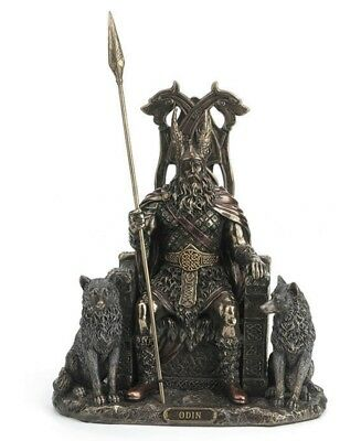 £69.13 • Buy 8.5  Odin Sitting With Wolves On Throne W/ Geri & Freki Norse Statue Viking