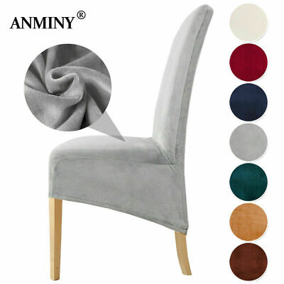£6.49 • Buy Velvet Dining Chair Seats Covers Large Size Stretch Plush Slipcovers Protectors