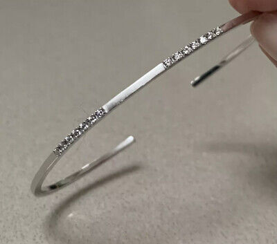 AU1100 • Buy RARE As New Sarah & Sebastian 9K White Gold + Diamonds Bracelet BANGLE RRP$1,450