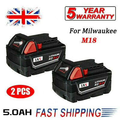 2X For Milwaukee M18 18V Extended Capacity Battery Lithium XC 5.0AH 48-11-1860 • 38.99£
