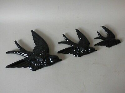 £42.39 • Buy Trio Collectable Graduated Black Ceramic Swallow Swift Bird Hanging Wall Plaques