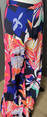 River Island Summer Palazzo Pants With Side Zip.  Long Length Size 8 • 8.99£