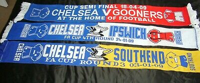 3 X Chelsea FC Football Scarf Scarves 2009 FA Cup Gooners, Southend, Ipswich • 16.99£
