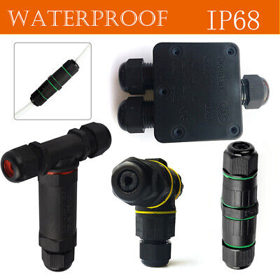 £3.99 • Buy 3 Way Waterproof Electrical Junction Box 3 Pin Cable Connector Wire IP68 Outdoor