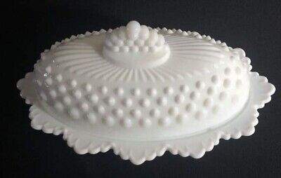 $29.99 • Buy Milk Glass Hobnail Oval Fenton Butter Dish With Lid Single Stick