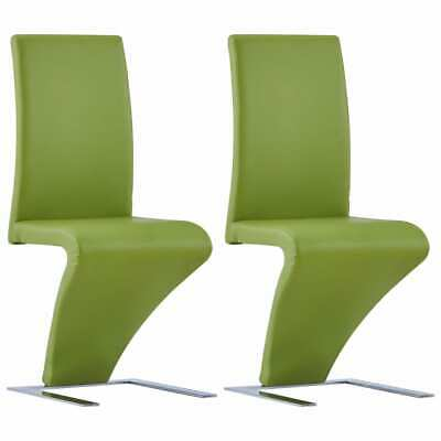 £180.97 • Buy Dining Chairs With Zigzag Shape 2 Pcs Green Faux Leather Z3A9
