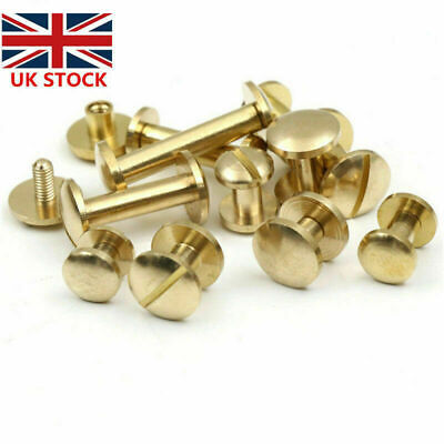 £3.39 • Buy 20 × Belt Screw Brass Rivets Stud Head Leather Craft Chicago Nail Wallet 4/6/8mm