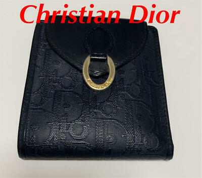 $229.63 • Buy Authentic Christian Dior Trotter Bi-Fold Leather Wallet Navy Gold Women's M445