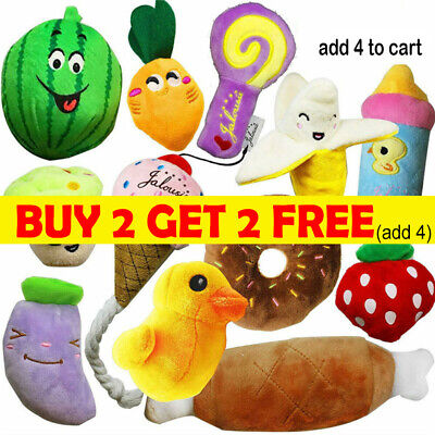 AU8.88 • Buy Pet Dog Soft Chew Toy Puppy Doggy Plush Sound Eggplant Carrot Squeaker Toys C2AU