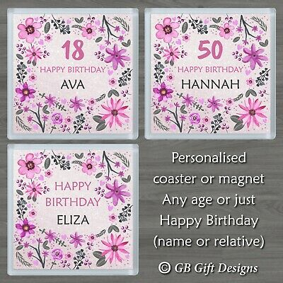 £3.45 • Buy Personalised Flower Coaster Or Magnet Any Age & Name Birthday Gift Pink