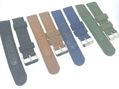 £2.99 • Buy Nylon Woven Material 2pc Military Style Watch Strap 20mm UK Seller
