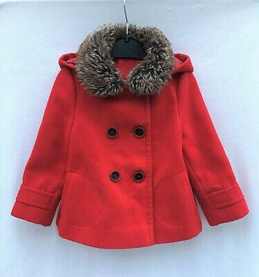 £3 • Buy Red Baby Girl Coat Jacket With Fur Trim Collar And Hood 12-18 Months