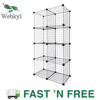 AU65.71 • Buy Wire Cube Storage Cabinet Metal Shelf Bookcase Rack Shelves Cupboard DIY Display
