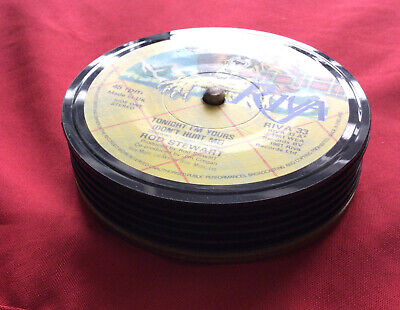 £9.99 • Buy 4 Quality, Hand Crafted, Genuine 1980s Retro Vinyl Record Coasters, With Stand