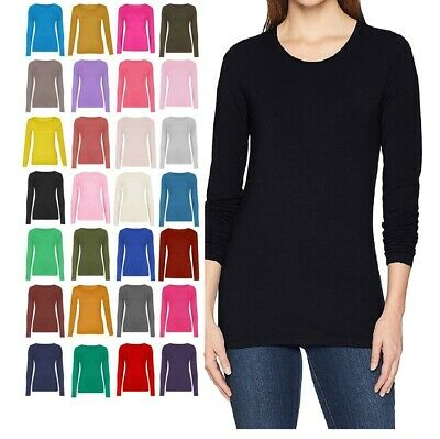 £4.99 • Buy New Ladies Crew Neck Long Sleeve Plain Casual Stretchy Tee Basic Fit Top T-Shirt