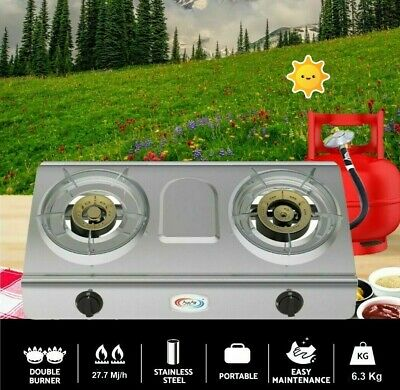 AU167 • Buy Kitchenware 2 Double Burner Wok  Cooker Gas Stove Home Camping Cooking Ware
