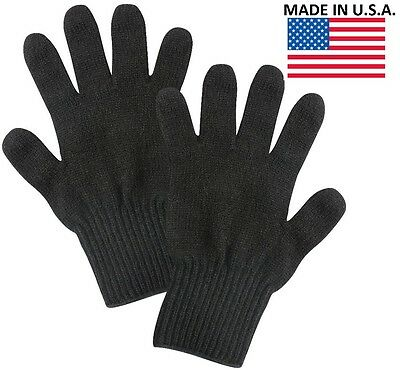 $7.99 • Buy Black Wool Blend Glove Liner - Winter Cold Weather Military Blank Gloves US Made