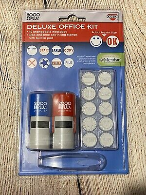 $12 • Buy 2000 PLUS Stamp Kit, Self-Inking, 10 5/8  Office Themed Messages, Red And Blue