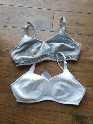 Marks And Spencer Maternity Bra Pack Of Two White Grey 40d Feeding Baby BNWT • 7£