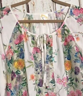 $ CDN37.48 • Buy Small/Medium New Anthropologie Fig & Flower White Blue Floral Lace Peasant Top