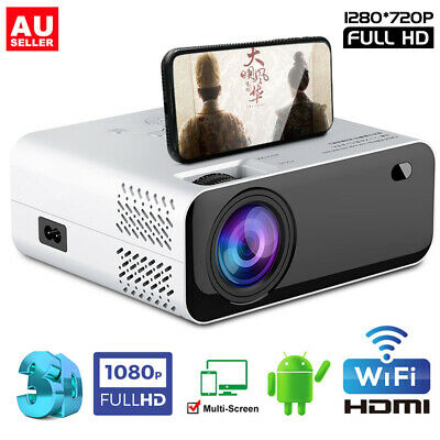 AU136.99 • Buy 8000 Lumens HD 1080P Projector Android WiFi Bluetooth Theatre Home Cinema HDMI