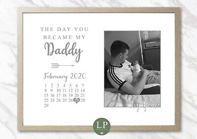 £14.99 • Buy Personalised Fathers Day Photo Print The Day You Became My Dad Daddy Grandad