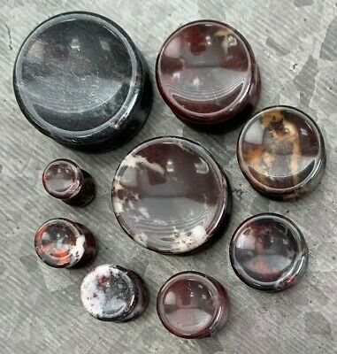 $13.95 • Buy PAIR Concave Bloodstone Natural Stone Double Flare Plugs Organic Gauges