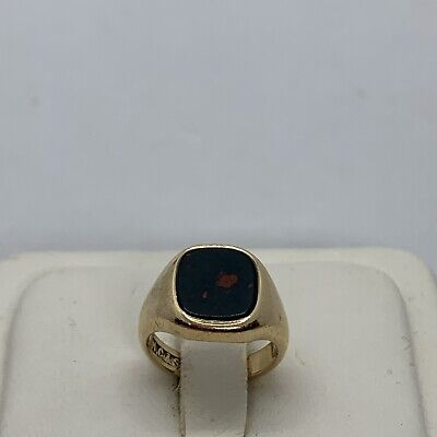 £247.55 • Buy Vintage English 9k Yellow Gold Bloodstone Signet Seal Ring Signed Square Pinky