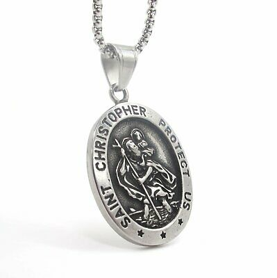 $9.99 • Buy MOYON Mens St Saint Christopher Medal Pendant Necklace Stainless Steel Amulet