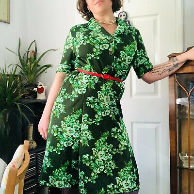 Collar Shirt Dress Floral Flower Pattern Patterned Bright Multicoloured 70s 60s • 18£