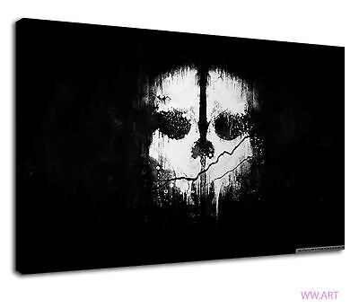 £34.99 • Buy Black And White Call Of Duty Ghost For Bed Room Canvas Wall Art Picture Print