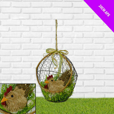 £14.75 • Buy 20cm Natural Straw Hanging Chicken In A Basket Easter Home Decoration Bird