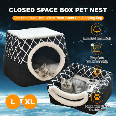 AU34.99 • Buy 2 In 1 Pet Dog Cat House Kennel Soft Bed Space Capsule Nest Cave Bedding Warm