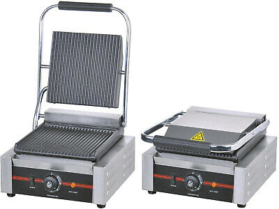 1.8kW Single Commercial Panini Machine Contact Grill Toaster Sandwich Maker • 129.99£
