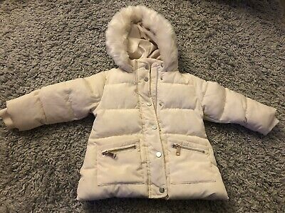 £5 • Buy F&F Baby Girls Cream Fur Lined Hooded Coat Age 12-18 Months